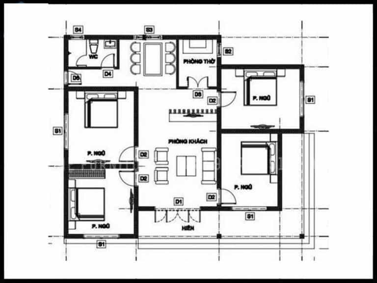 30+ mẫu thiết kế nhà 1 tầng 4 phòng ngủ đẹp hiện đại nhất